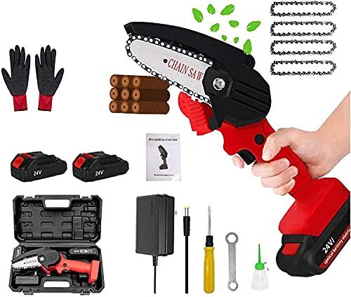 QQwl Mini Cadena de motosierra de 4 pulgadas Handheld Handheld Sierra de cadena portátil eléctrica con batería, cadena y caja, cizallas de poda motosierra para la rama de árbol cortando madera