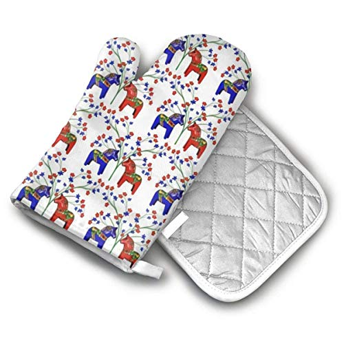 Ofenhandschuhe und Topflappen-Sets Floral schwedische Dala Pferde Ofenhandschuhe und Topflappen