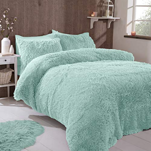FAUX FUR SHAGGY Long Pile Face, Soft Touch Plush Fleece Reverse, Duvet Cover Set with Pillow Case Thermal Fluffy Winter Warm Cozy Cuddly Bedding Bed Set (Duck Egg Green Blue, Single)