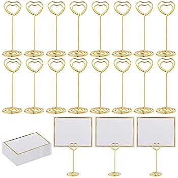 Aodaer 24 Pack Place Card Holders Heart Shape Table Number Stands with 24 Greeting Cards Table Number Holders for Wedding Party Number Paper Menu Clips Gold