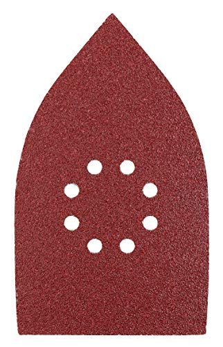 kwb Schleif-Dreieck für Delta- u. Multi-Schleifer - für Metall, Holz, Lack u. v. m., für u. a. Black u. Decker, Ferm, Worx Multi-Schleifer B-&-D , 107 x 175 mm, Korn K-60, K-120, K-180, Je 4 Stk., gelocht, Sparpack (12 Stk.)
