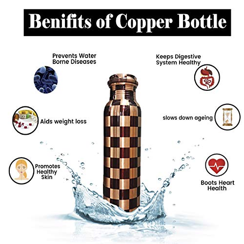 Copper World 100% Pure Copper Water Bottle with Ayurvedic Health Benefits and Doctor Suggested Copper Bottle Leak Proof, Jointless 1000ml - Cross_Checks
