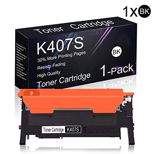 Compatible Toner Cartridge 1 Pack Black CLT-K407S K407S Replacement for Samsung CLX-3186/3180 / 3185N / 3185FW / 3185FN / 3185, CLP-320N / 321/325 / 325W / 326 / 318x Series Printers.