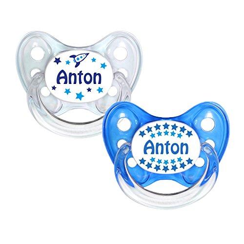Dentistar® Silikon Schnuller 2er Set inkl. 2 Schutzkappen - Nuckel Silikon in Größe 2-6-14 Monate - zahnfreundlich & kiefergerecht - Beruhigungssauger für Babys - Made in Germany - BPA frei - Anton
