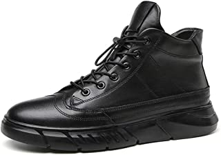 SHENYUAN Men's Large Size Leisure Ankle Boots High-top Sneakers Genuine Leather Lace up Round Toe Platform Sport Casual Shoes Work or Casual Wear (Fleece Inside Option)
