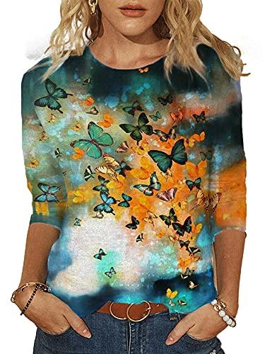 DELIMALI Camiseta casual para mujer, patrón impreso medias mangas cuello redondo Knitwear Pullover