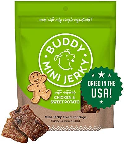 Buddy Biscuits Mini Jerky Made in USA Premium Dog Treats Natural Chicken Sweet Potato 4oz product image