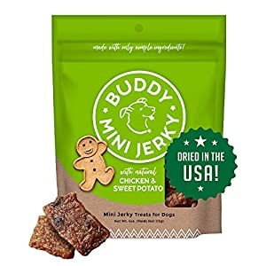 Buddy Biscuits Mini Jerky, Made in USA, Premium Dog Treats, Natural Chicken & Sweet Potato 4oz