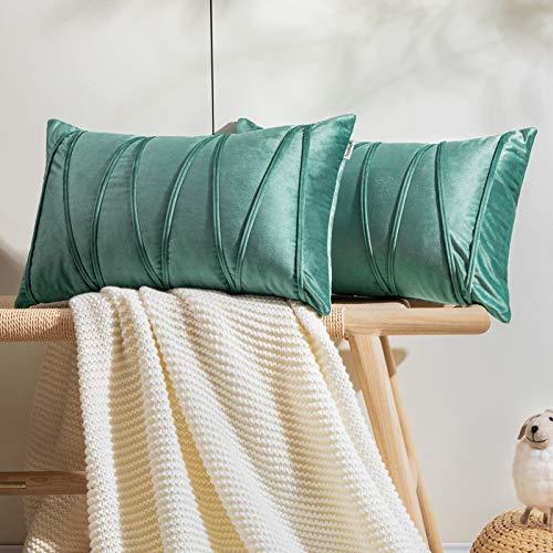 Topfinel 2 Juegos Hogar Cojines Terciopelo Suave Decorativa Almohadas Fundas de Color Sólido para Sala de Estar sofás 40x60cm Verde Claro