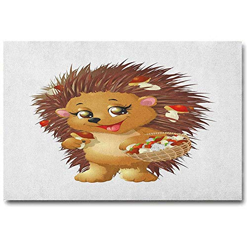Hedgehog Wall Panels for Interior Wall Decor Hedgehog Holding Mushroom with a Basket of Autumn Foods Animal Fun Cartoon Best Gifts of 2020 Pale Caramel Brown L36 x H24 Inch