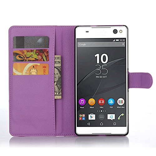 Tasche für Sony Xperia C5 Ultra (6 zoll) Hülle, Ycloud PU Ledertasche Flip Cover Wallet Case Handyhülle mit Stand Function Credit Card Slots Bookstyle Purse Design lila