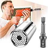 Universal Socket, Multi-Function Wrench Ratchet Set with Power Drill Adapter, Self-Adjusting Universal Socket Attachment Tool Set, Unique Gift for Men, Father, Dad, Husband (7mm-19mm)