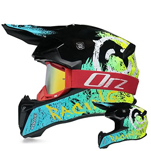 Amacigana Casco da motocross, casco da motocross, set di casco da motocross, per Dirt Bike, Fullface Offroad, con occhiali di protezione, adatto per adolescenti e adulti (verde, rosso, M)