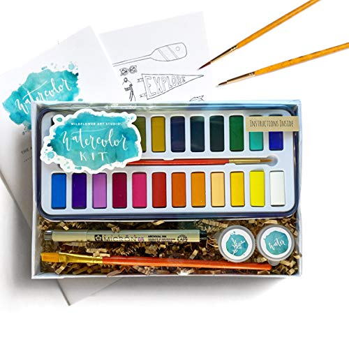 Wildflower Art Studio DIY Watercolor Kit - Learn to Paint: Includes Instructions & Supplies • Award-Winning Watercolor Class in a Box for Beginners • Gift Set for Kids, Adults, Teens