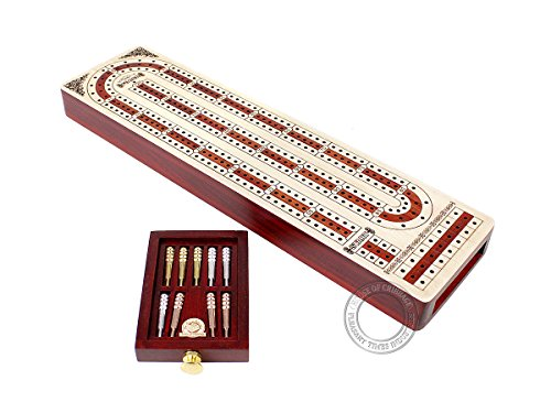 Continuous Cribbage Board Alphabet e Shape Inlaid in Maple and Bloodwood with Storage Drawer for Cribbage pegs 12.4