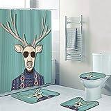 Fgolphd Elch Muster Duschvorhang 180x200180x180 Hirsch Tierbild Badezimmerteppich 4-teiliges Set, Shower CurtainsWasserdicht (180 * 180,10)