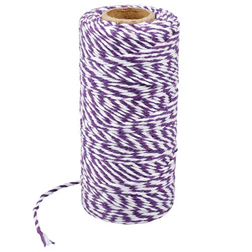 Purple and White String,328 Feet Baker's Twine Cotton Crafts Twine Heavy Duty Christmas Twine