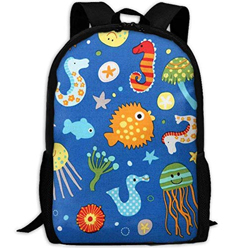 best& Vintage Blue Sea Animal Jellyfish Sea Horse Fish College Laptop Backpack Student School Bookbag Rucksack Travel Daypack