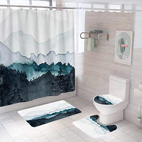 4 Pcs Singular Landscape Painting Shower Curtain Set with Non-Slip Rugs Set ,Toilet lid Cover and U-Shaped Mat. Durable Waterproof Shower Curtain, Polyester Fabric 3D Printing Shower Curtains.