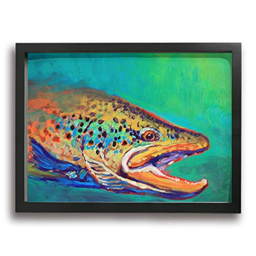 Olverz Brook Trout Fly Fishing Framed Painting 16x12in Canvas Prints Classic Art Reproductions Modern Photo Frame Wall Art Pictures Paintings For Living Room Office Home