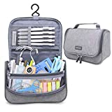 Aiscool Big Capacity Pen Pencil Case Holder Bag Pen Organizer Pouch Stationery Box Oxford Cloth Dry-wet Separation Portable Travel Hanging Bag Toiletry Bag for School Home Office (Gray)