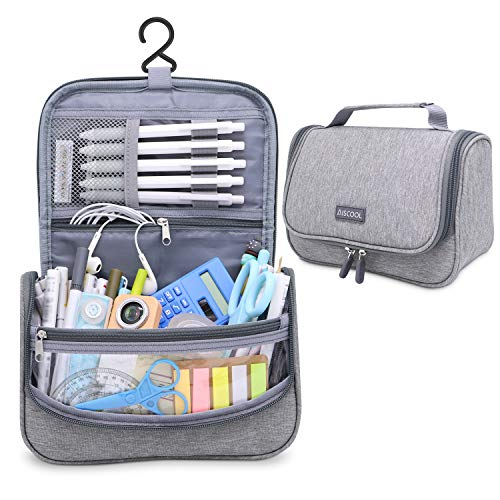 Aiscool Big Capacity Pen Pencil Case Holder Bag Pen Organizer Pouch Stationery Box Oxford Cloth Dry-wet Separation Portable Travel Hanging Bag Toiletry Bag for School Home Office (Grey)