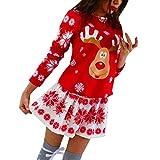 WUDUBE Cadeau de Noël!Femme Robe de soirée Impression De Noël Robe à Manches Longues Elk...