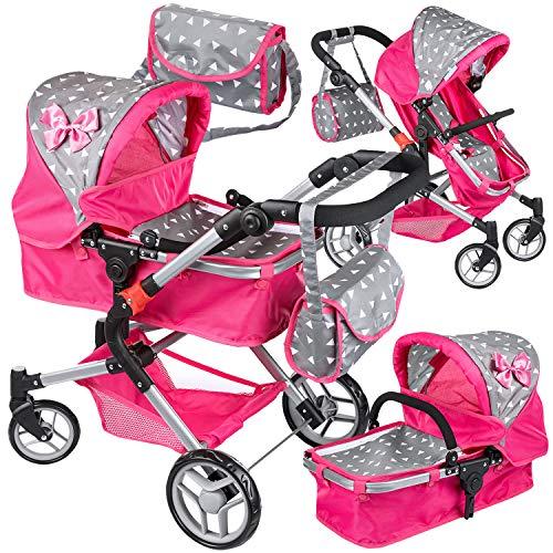 Puppenwagen Puppenwagen Babypuppenwagen KP0250S Kinderwagen Puppe Sportsitz NEU Puppenkar höhenverstellbar, zusammenklappbar, 4-rädriger Puppenwagen Kombi Tragetasche Babypuppenwagen