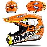 Casco profesional de motocross - Casco de cara completa con gafas, guantes y máscara, para adultos y niños - Set de equipo de protección para motos todoterreno