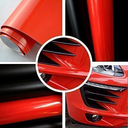 TipTopCarbon 6,57€/m² Autofolie Glanz Rot 0,3m x 1,52m Auto Folie BLASENFREI mit Luftkanälen 3D Flex