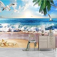 写真の壁紙3D立体空間カスタム大規模な壁紙の壁紙 海景カモメの壁の装飾リビングルームの寝室の壁紙の壁の壁画の壁紙テレビのソファの背景家の装飾壁画-280X200cm(110 x 78インチ)