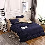 BH-JJSMGS Bettbezug aus weicher Mikrofaser mit Reißverschluss, Khaki Marineblau 180X220
