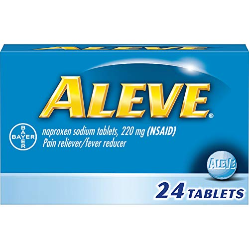 Aleve Tablets, Naproxen Sodium 220 mg (NSAID), Pain Reliever/Fever Reducer, 24 Count
