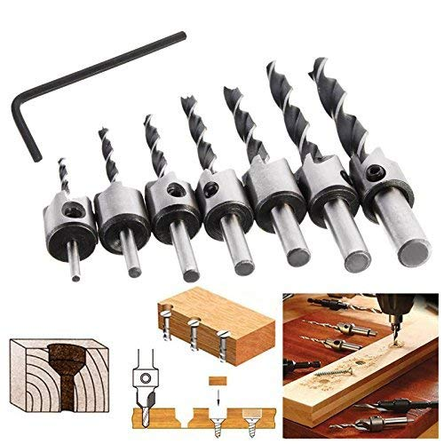 Woodworking Carpentry Reamer with 1 Free Hex Key Wrench 7Pcs Counter Sink Bit for Wood High Speed Steel COMOWARE Countersink Drill Bits Set