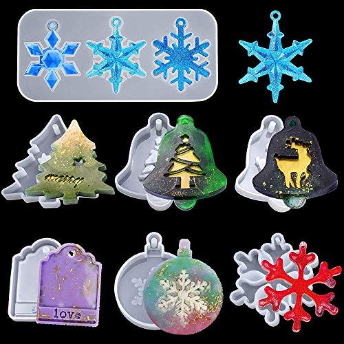 7 pezzi Set di stampi in silicone in resina natalizia, epossidica per albero di Natale con fiocchi di neve, Stampi con ciondoli natalizi creativi per artigianato fai-da-te Decorazione domestica