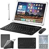 Tablet 10 Pulgadas ZONKO Tablet Android 10, 4G LTE, Soporte de Doble SIM, 4+64GB, 128GB Ampliable, Octa-Core, 1080 IPS, 6000mAh, 13MP Cámara-Plata
