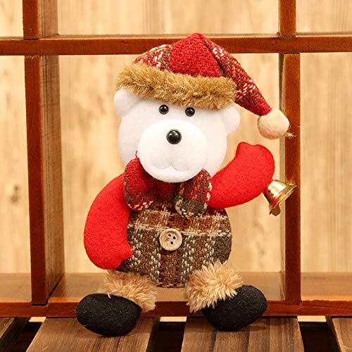 Pstarts Christmas Tree Ornament, Christmas Plush & Plaids Dolls for Decoration, Santa/Snowman/Elk/Bear