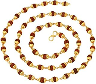 Purplestones 24K Yellow Gold Plated Copper 27 Inch Rudraksha Mala for Men and Women