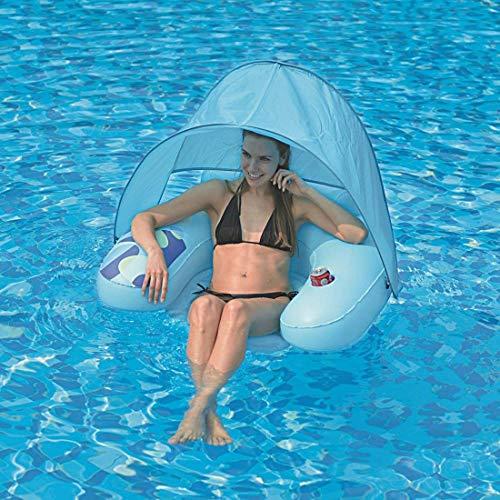 Jilong Poolsessel Water Sofa Canopy Schwimmsessel Wassersessel + Sonnenschutz-Dach + Getränkehalter
