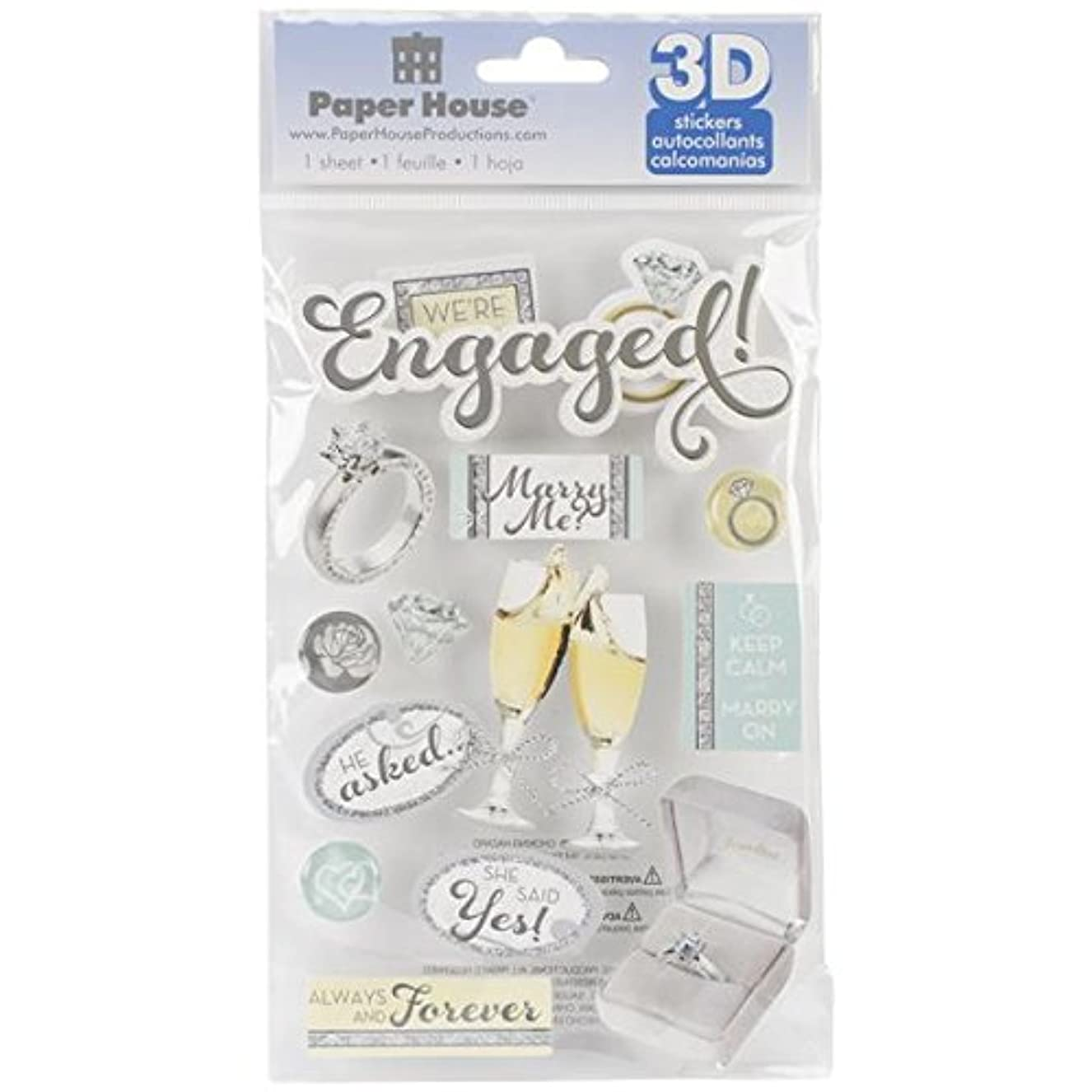 Paper House Productions STDM-0197E 3D Cardstock Stickers, Engaged pmpjqpwcym6382