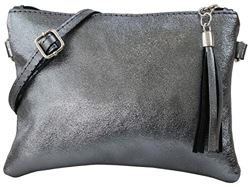 SH Leder Echtleder Umhängetasche Clutch kleine Tasche Abendtasche 22x15cm Anny G248 (Anthrazit Metallic)
