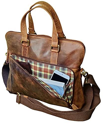 Leather Messenger Bag for Men Women Vintage Travel 14 inch Laptop Briefcase Shoulder Bag by Rustic Town