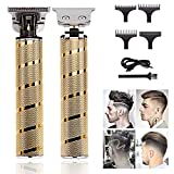 J TOHLO Electric Hair Clippers, Cortapelos Máquina Cortar Pelo, Cortador de Pelo en T-Blade para Hombres, Recortador de Pelo Inalámbrico Recargable por USB, con Cuchillas Afiladas Duraderas (gold)