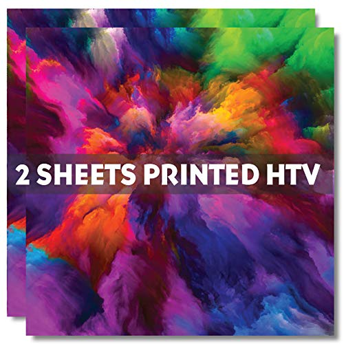 2-Sheets Watercolor A Pattern HTV, 12' x 12' Printed Heat Transfer Vinyl, SCO0901A