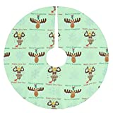 Christmas Tree Skirt 48 Inch Large Decorations Merry Kissmoose_Happy Gnu Year_Xmas Holiday Brushed Polyester Tree Skirt Tree Mat for Indoor Outdoor Decorative for Home Party Supplies 122cm
