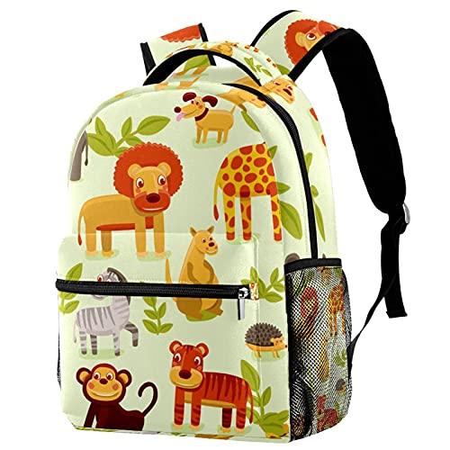 Mochila escolar para niñas niños mochila informal bolsa de viaje para senderismo zoológico de animais con múltiples bolsillos