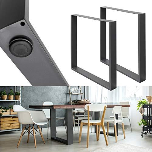 ECD Germany 2 Stück Tischgestell 60 x 72 cm aus pulverbeschichteter Stahl Dunkelgrau Industriedesign - Tischuntergestell Tischbeine Set Tischkufen Tischfüße