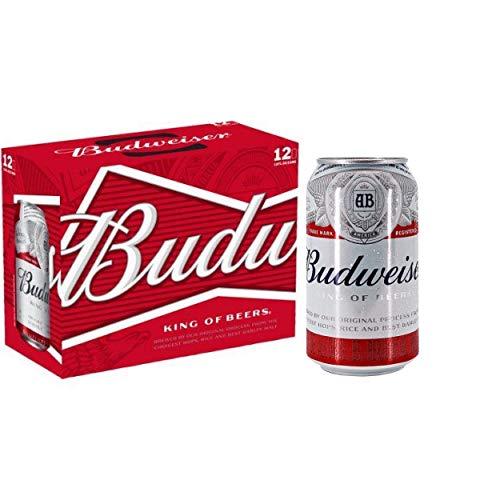 BUDWEISER Amerikanisches Bier 4.8% Alkohol. Dosen 330 ml. bier dose, biere der welt, bier set, geschenke für männer, budweiser bier usa (12 Dosen, 0.33 l)