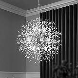 Qamra lustre en cristal moderne, pissenlit de feux d'artifice Spoutnik lustre luminaire suspension, lampe suspendue pour chambre à coucher, salon, salle à manger, cuisine (9 lumières, chrome)
