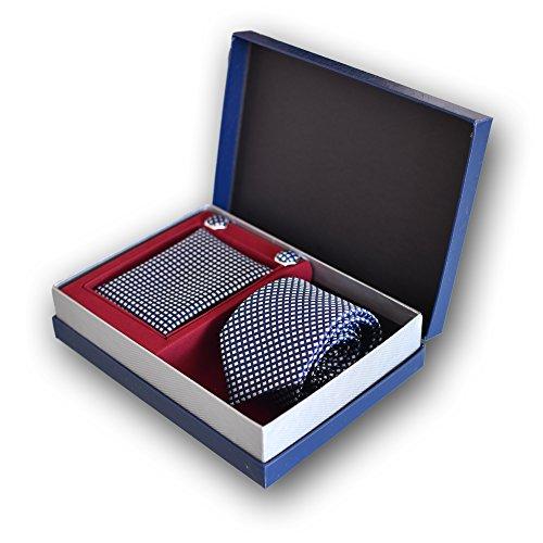 Coffret Ensemble Cravate Homme, Mouchoir de Poche, Boutons de Manchette à carreaux Bleu - 100% en Soie - Elégant et Moderne - (Idéal pour un cadeau, u